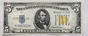1934 A $5 Silver Certificate Yellow Seal, North Africa, UNC! WWII Emergency Note