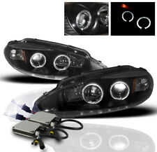 1998-2004 DODGE INTREPID 4DR BLACK HALO PROJECTOR HEADLIGHT LAMP+10K HID KIT NEW