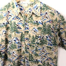 Columbia Shirt Mens Large Beige Mountain Forest Scene Short Sleeve Button Front