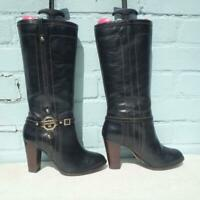 River Island Leather Boots UK 6 Eur 39 Womens Shoes  RIR  Pull on Black Boots