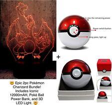 Epic 2pc Pokemon Charizard Bundle! Pokeball 12k Power Bank & 3D LED Night Light