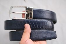Blue Genuine Ostrich Leg Leather Skin Men's Belt