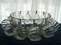 Jeannette Glass Clear Mayflower Punch Bowl, Cups, Metal Hooks, Ladle, 26 pc Set