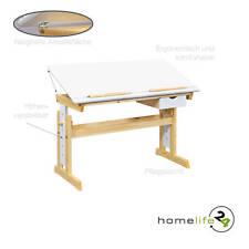 Kinderschreibtisch höhenverstellbar neigbar Schreibtisch massivholz Natur Weiß