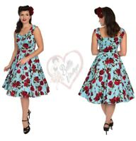Hearts & Roses Womens Blue Vintage Red Rose Plus Size 50s Rockabilly Swing Dress