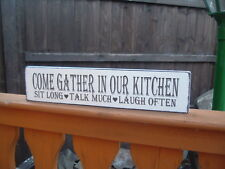 Wooden GATHER IN OUR KITCHEN free standing signs shabby vintage chic plaque