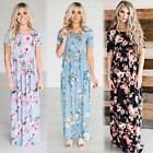 Womens Boho Summer Casual Floral Sundress Party Beach Long Maxi Split Dress