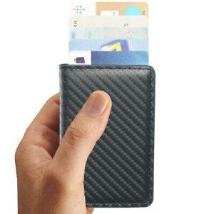 Kartenetui carbon Leder mini Portemonnaie RFID Block Schutz Geldbeutel slim