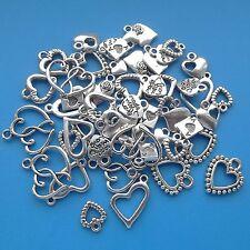 50 Mixed Heart Charms Tibetan Silver Pendant