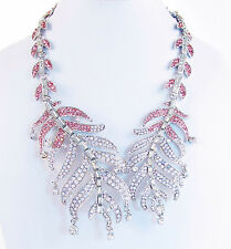 NWT BETSEY JOHNSON Ballerina Rose Pink Feather Silver-Tone Collar Necklace $145
