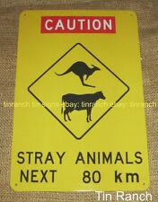 AUSTRALIAN OUTBACK road TIN SIGN Caution Animals Cow kangaroo SOUVENIR warning