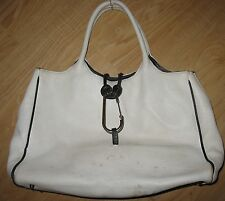 CATS -WHITE XL HANDBAG - SOFT GENUINE LEATHER - CHROME HOOK  - MADE IN SPAIN