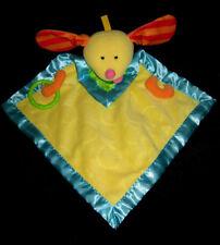 Doudou Peluche plat Chien jaune orange bleu vert Fisher Price J2445