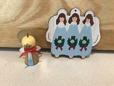 Vintage Lot Of 2 Angel Ornaments Wood Rare Hallmark 1984 and 1986