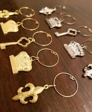 Fleur De Lis and Crown Wine Charms, set of 10 Silver and Gold charms