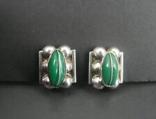 Vintage Green Onyx Stones Mexico Sterling Silver 925 Screw Back Earrings