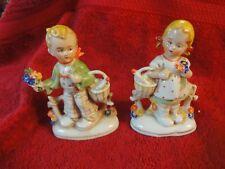 Pair Vintage made in germany Boy & Girl w/ basket adorable figurines 20469