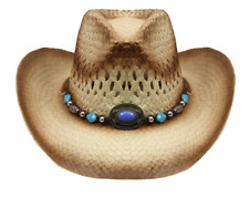 d2695689479 Tea Stain Paper Straw COWBOY HAT w  Turquoise Blue Beads WOMEN WESTERN  Cowgirl