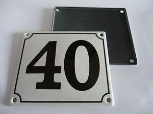 Old German White Enamel Porcelain Metal House Door Number Street Sign / Plate 40