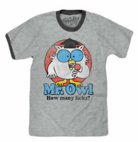TOOTSIE ROLL MR OWL HOW MANY LICKS RINGER T-SHIRT GREY MENS RETRO CANDY TEE NEW