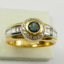Blue Sapphire Baguette Diamonds Bezel Ring Genuine 750 18ct 18k Yellow Gold