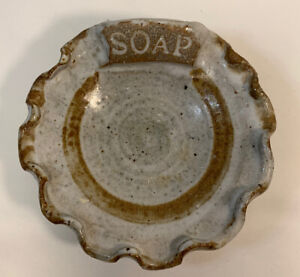 Vintage Golden Age Pottery Soap Dish. Tan and  brown stoneware.
