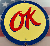 VINTAGE OK USED CARS PORCELAIN SIGN CHEVROLET DEALERSHIP GAS OIL SALES SERVICE