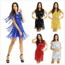 Mujeres Borla Lentejuelas Salón de Baile Latino Bailar Vestido Vestido Disfraz De Salsa Tango Cha Cha