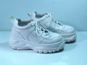 TopShop White Chunky Sole Sneakers Faux Leather Trainers UK4 EU37 GC