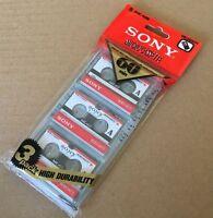 New Sony MC-60 MC60 Microcassette Blank Cassette Tape Disc 60 min 3 pcs Tapes