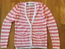 Abercrombie Kids Button Front Cardigan V-Front Sweater Size 13/14 Pink Striped