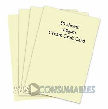 50 SHEETS A4 160gsm CLAIREFONTAINE COLOURED CRAFT CARD - CREAM - 1101