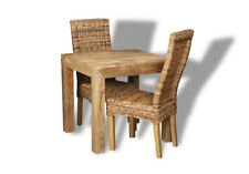 DAKOTA MANGO 80CM DINING TABLE & 2 RATTAN CHAIRS (57L&2B2L)