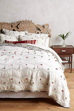 Anthropologie COBBLEWEAVE King Quilt ivory hand embroidered cotton NEW