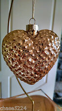 """Golden Heart - 4"" Heart Gold Transparent Glass Hobnail Valentine"