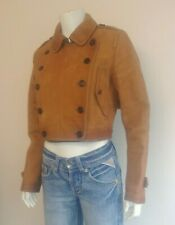 BURBERRY Prorsum Nubuck Leather Cropped Military Napoleon Double Breasted Jacket
