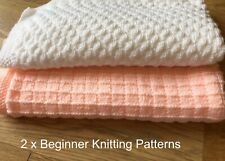 KNITTING PATTERNS Easy Baby Blankets x 2, Beginner - Simple Squares & Bumps