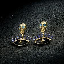 Eye Star Rhinestone Blue P2 Earrings Ear Jacket Golden Skull Skull