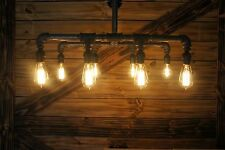 Edison Age Industrial 8-Light Chandelier, Vintage Pipe Light, Antique Pendant