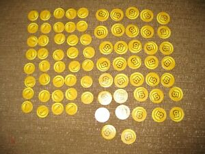 Monopoly Gamer Mario Golden Coins Lot Of 88 Replacement Pieces 49 (1s) 39 (5s)