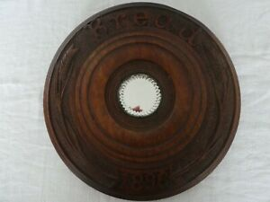 DATED ANTIQUE BREAD BOARD CARVED 1896 INSET MIRROR ARTS & CRAFTS