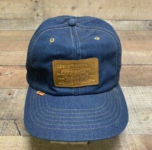 Vintage Orange Tab Levi Strauss & Co Blue Denim Hat w/ Leather adjustable strap