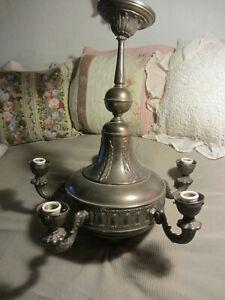 Alte zauberhafte Jugendstil Deckenlampe Kronleuchter Altmessing 5flammig 4,1 kg