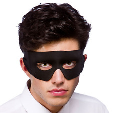 Adult Black Mexican Bandit Superhero Fancy Dress Costume Accessory Eye Mask