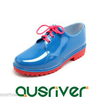 New 5 Colours Women Waterproof Lace Up Rain Boots Shoes Low Ankle Flat Wellies