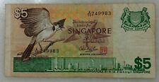 SINGAPORE $5 BIRD  BANKNOTE  - A/55 249983