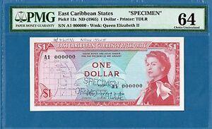 East Caribbean States, 1 Dollar, A1 000000 Specimen, 1965, UNC-PMG64, P13s