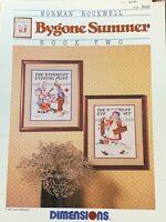 Cross Stitch Bygone Summer Norman Rockwell Chart leaflet boy clown girl basket