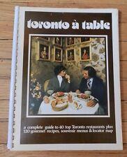 TORONTO à TABLE 1977 40 Top TORONTO RESTAURANTS Menus Recipes Winstons Fingers