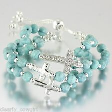 "#6926 - BRACELET - SIMULATED TURQUOISE BEADS w/ CRYSTAL CROSS CHARM 7"" to 8"""